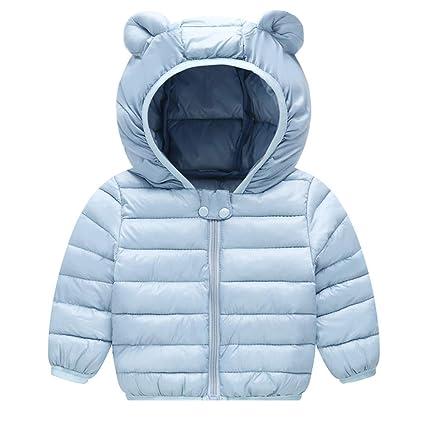 1dc32e4940e9a AIKSSOO 新生児 ダウンジャケット 女の子 男の子 軽量 ベビー服 コート 冬用 フード付き 防寒 ブルー 80