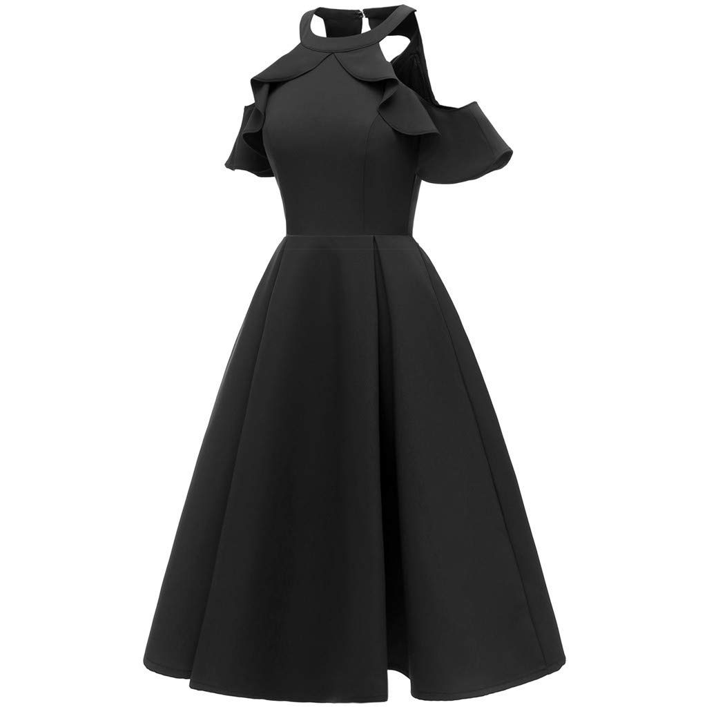 Black Large Women Elegant Vintage Dress,FAPIZI Summer Fashion Solid Sleeveless Pleated Casual Evening Party Long Swing Dress