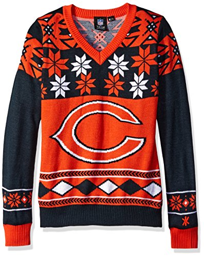 NFL Women's V-Neck Sweater, Chicago Bears, Large by FOCO
