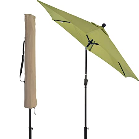 LCH 9 ft Outdoor Umbrella Patio Backyard Market Table Umbrella Sturdy Pole Push Button Easily Tilt Crank with Umbrella Cover Limegreen