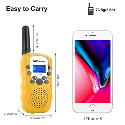 WisHouse Walkie Talkies for Kids, Toys for Boys and Girls Best Handheld Walky Talky with Flashlight,VOX Function,Share Your Happiness with Family and Friends Halloween(T388 Yellow 4 Pack) by Wishouse (Image #4)