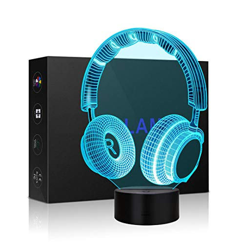 Idee Monto 3D Lamp Illusion Night Light Headset Shape Optical Illusion Table Desk Lamp with 7 Color Light Lighting for Desk Bookshelf or Bedside Table (Headset)