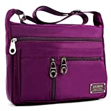 Crossbody Bags for Women,Water Resistant Lightweight Nylon with 6 Pockets Bag by ZYSUN (Purple-B)