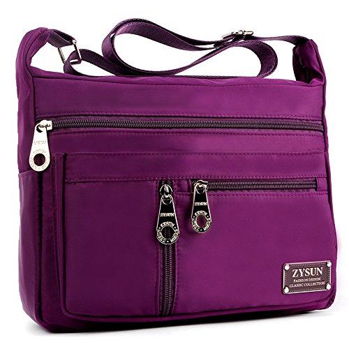 Crossbody Bags,Womens Nylon Purple Medium Organizer Pack Cross Body Purse Bag by - Cross Purple Bag Body