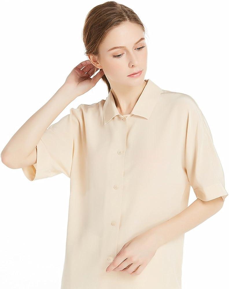 LilySilk Camisa de Seda para Mujer Mangas Cortas 18MM,Color ...