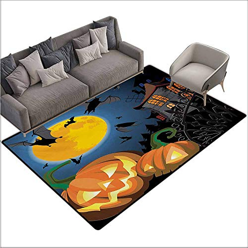 Floor Bath Rug Halloween Gothic Halloween Haunted House Party Theme Design Trick or Treat for Kids Print Personality W70 xL82 Multicolor -