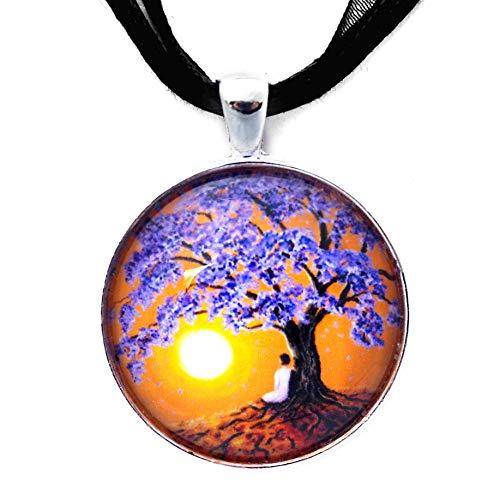 Laura Milnor Iverson Jacaranda Tree Sunset Meditation Handmade Art Pendant (Black Ribbon Necklace) (Jacaranda Blossoms)