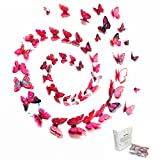 48PCS 3D Butterfly Art Wall Decor Vivid Colorful Double Wing Fridge Magnet ...