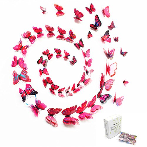48PCS 3D Butterfly Art Wall Decor Vivid Colorful Double Wing Fridge Magnet Butterflies Wall Stickers Decals Home Décor Applique Baby Girls Room Diy Crafts Removable Pink,Purple,Red,Rose(4 Color-02)