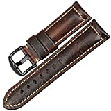 MAIKES Vintage Leather Strap Watch Band 22mm 24mm 26mm Watch Accessories Watchband Watch Strap (20mm, Dark Brown+Black)