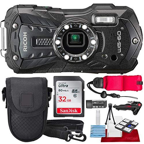 Ricoh WG-60 Waterproof Digital Camera, Black with 32GB, Floating Strap, Tripod Accessory Bundle