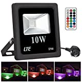 LTE 10W RGB Flood Lights,Remote Control,colour changing LED Security lights with UK 3 Pin Plug,4 modes 16 Colours Floodlight,Dimmable, Waterproof LED Spotlight,Decorate for Garden,Halloween,Christmas,Party [Energy Class A+]