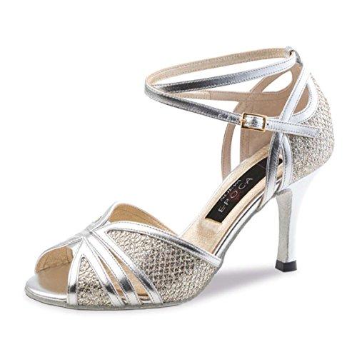 Nueva Epoca–Mujer Tango/Salsa Zapatos de baile Pearl–Piel Plata–