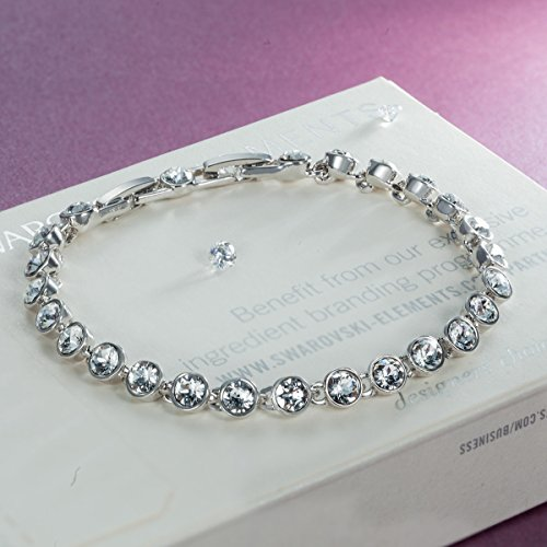 """Qianse, valentines day gifts, 6.3"""" Tennis Bracelet Made with whiteSWAROVSKI Crystal, gift for her, birthday gifts for girls, Women Fashion Jewelry"""