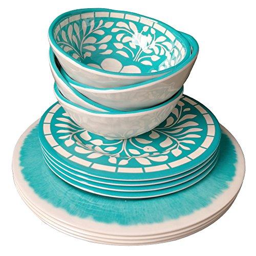 Dinnerware Set for 4 - Melamine 12 Piece Dinner Dishes Set for Camping Use, Lightweight, Dishwasher Safe, Green by Yinshine (Image #2)