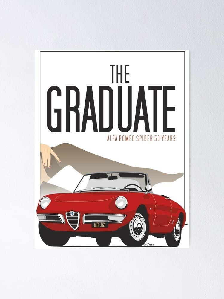 """Lehuyng Alfa Romeo Duetto from The Graduate Poster 12.75"""" X 17"""" Inch No Frame Board for Office Decor, Best Gift Dad Mom Grandmother and Your Friends"""