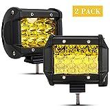"Ansite LED Work Light Bar, 2Pcs 4"" 36W Amber Spot Beam Osram Chips Driving Fog Light Waterproof for Off-road Car ATV SUV Jeep Boat"