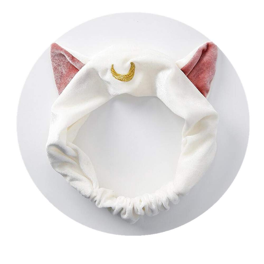 Cute Cat Usagi Moon Cosmetic Hairband Shower Headband (White) Ziper