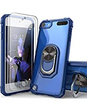 iPod Touch Case Clear with Kickstand, iPod Touch 7 Case with 2 HD Screen Protectors, IDYStar Clear Crystal Case with Built-in Metal Magnetic Kickstand for iPod Touch 7th/6th/5th Gen, Blue