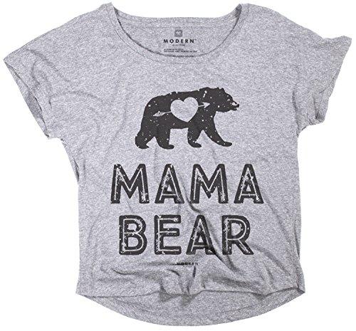 Superluxe Clothing Womens Mama Bear Flowy Tri-Blend Grey Dolman T-Shirt