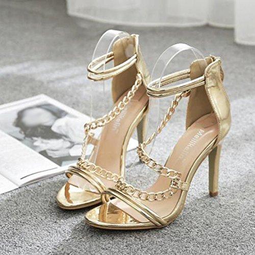 Mesdames Été Talons Hauts Peep Toe Barely There Sandales De Mariage Sandales De Travail Gold Hcpv8AcCm