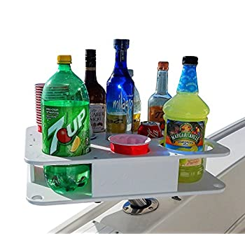 Image of Docktail Boat Bar & Ultimate Marine Cup & Bottle Holder - This Boating Accessory Includes Rod Holder Mount - Holds Handles and All 20 and 30 Oz Tumblers - 12 oz Cans and Bottles - Starboard