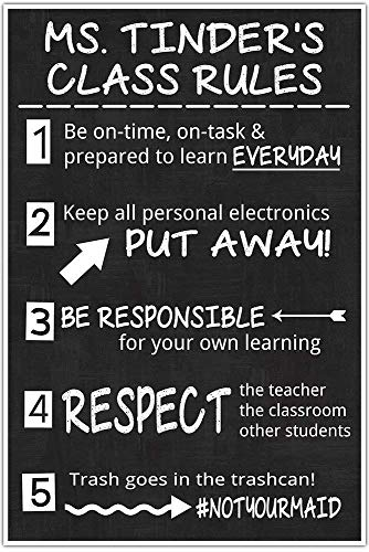 Class Rules Personalized Junior High MIddle School Classroom Chalkboard Poster #notyourmaid