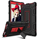 Venoro Case for All-New Amazon Fire HD 8 Tablet, Kindle Fire 8 Case Cover with Kickstand Compatible with Fire HD 8 Tablet (7th 8th Generation, 2017 2018 Release) (Black/Red)