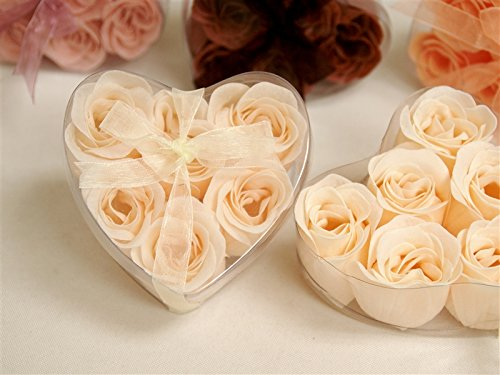 BalsaCircle 100 Gift Boxes with 6 Rose Soaps - Wedding Favors - Ivory