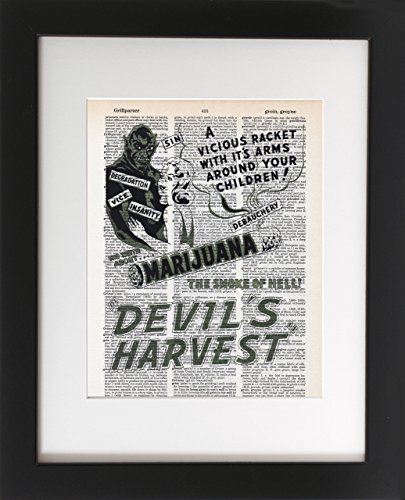 Marijuana Devil's Harvest - Upcycled Dictionary Art Print 8x10 - Unframed - Frame and matting are for presentation purposes only to show you how they can look. Vintage Medical Marijuana (Gourmet Settings Frame)