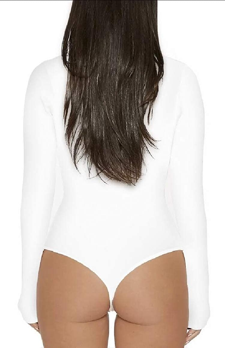 jxfd Women Stretchy Turtleneck Long Sleeve Thong Bodysuit Solid Color Romper