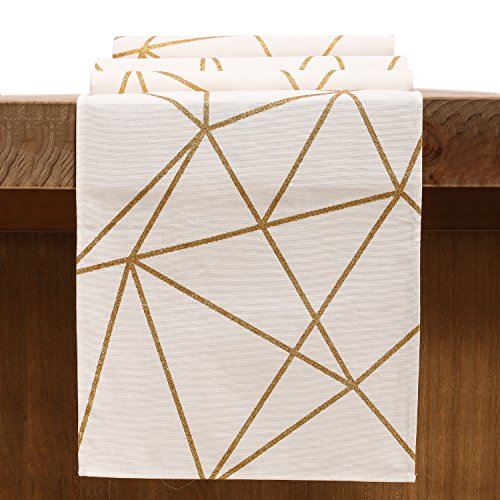 Ling's moment Cotton Table Runner (12 x 108 Inches) Glitter Gold lines on White for Wedding Birthday Party Graduation Events Bridal Shower Baby Boy Girl Shower Decorations