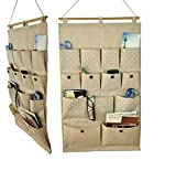 Linen Cotton Over Wall Door Hanging Bedroom Living Room Storage Bag Closet Hanger Storage Tidy Organizer 13 Pockets for Phone / toy / cosmetics / glasses (C)
