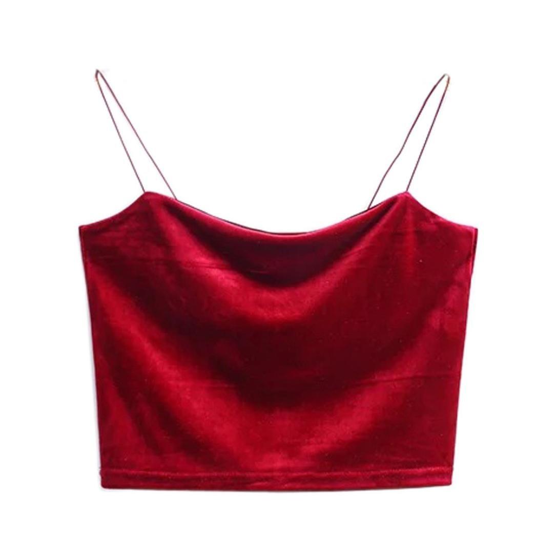 daa26a4f8bf188 BSGSH Women s Fashion Velvet Tank Tops Sleeveless Spaghetti Strap Cami  Bralette (Free Size