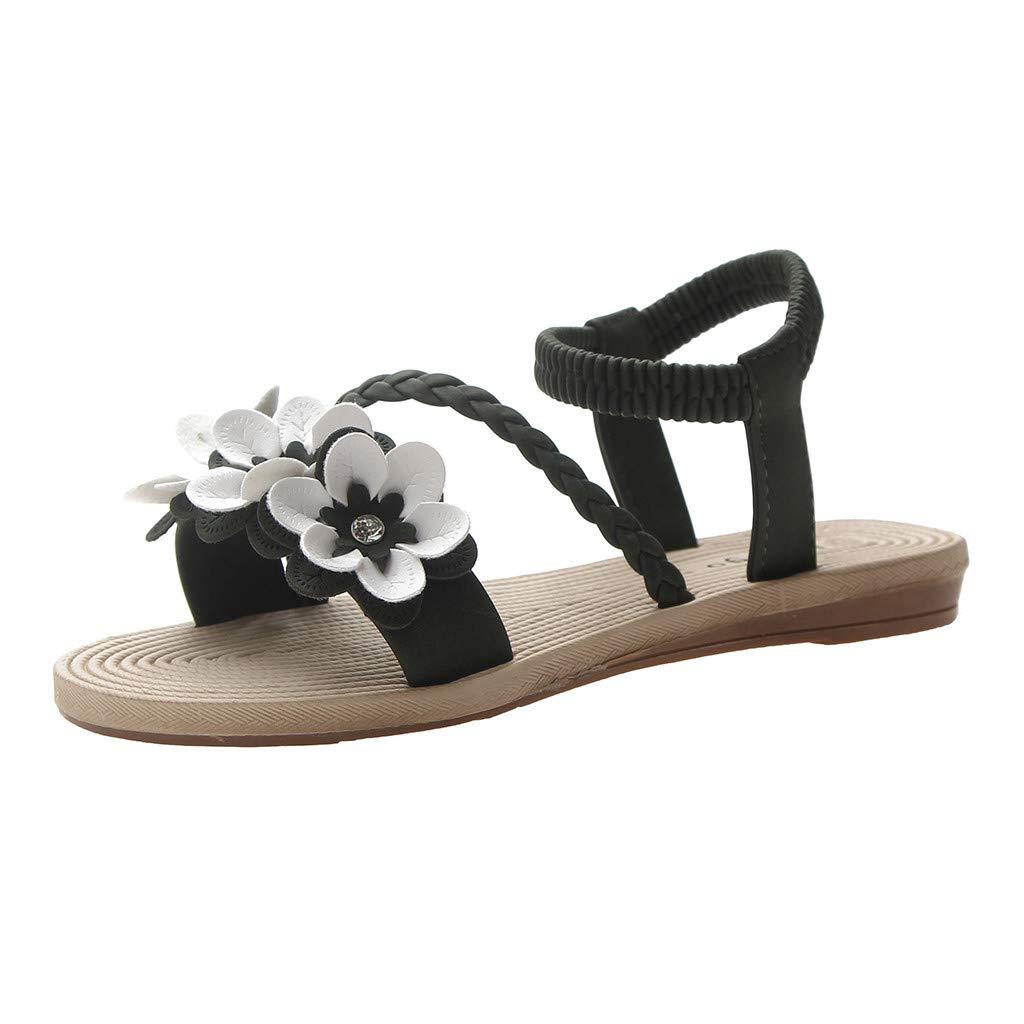 YEZIJIN Hot Sale! Women's Ladies Summer Bohemian Flower Weave Flat Beach Sandals Roman Shoes 2019 New Fashion Summer Beach Sexy Sandals Slippers for Girls Women Ladies Clearance Under 10 Dollars