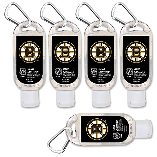 (NHL Boston Bruins Hand Sanitizer with Clip, 5-Pack. Moisturizers Aloe Vera and Vitamin E. (1.5 oz Containers) NHL Gifts for Men and Women, Christmas Stocking Stuffers)