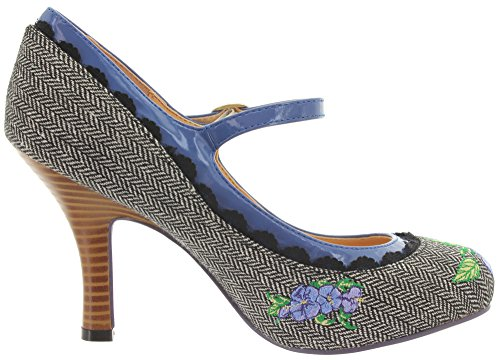 Dancing Days Banned Mary Jane Pumps Girl Loves Me BND138 Grey Tweed