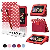 SAVFY� Kindle Fire HD Stylish Polka Dot PREMIUM Leather Case Cover Multi-Function Flip Pouch with Auto Wake and Sleep, includes Bonus: Screen Protector and Touch Stylus Pen - Multi-Colours Available (ONLY for New Kindle Fire HD, Oct.25 2012 Release) (Polka Dots, Red)by SAVFY