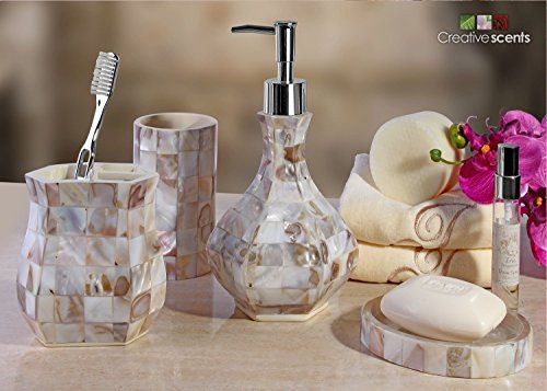 Creative-Scents-Milano-Lotion-Dispenser-5-Inch-by-5-Inch-by-825-Inch-Mother-of-pearl