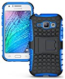 Heartly Flip Kick Stand Spider Hard Dual Rugged Armor Hybrid Bumper Back Case Cover For Samsung Galaxy J1 2015 J100F - Power Blue