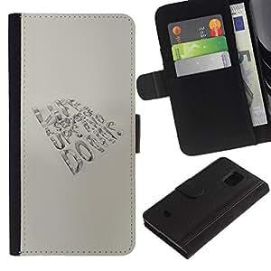 LASTONE PHONE CASE / Lujo Billetera de Cuero Caso del tirón Titular de la tarjeta Flip Carcasa Funda para Samsung Galaxy S5 Mini, SM-G800, NOT S5 REGULAR! / Life Is A Series Message