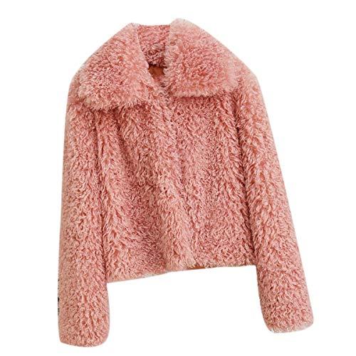 Fausse Fourrure Manches Longues Manteau Femmes Hiver pais Revers Solide Lache Outwear (Color : Pink, Size : M)