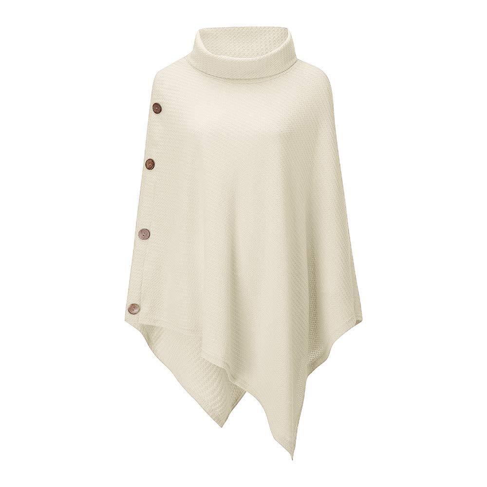 BHYDRY Damenmode Knit Turtle Kragen Poncho mit Knopf Unregelmäßigen Saum Pullover