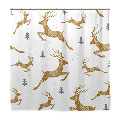 MIGAGA Decoration Shower Curtain Shower Christmas Seamless Pattern Deers Cross Stitch Bath Curtains Waterproof Fabric Bathroom Decor Set with Hooks 47X64inch