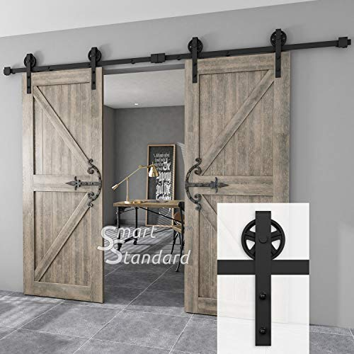 SMARTSTANDARD 10FT Double Gate Heavy Duty Sturdy Sliding Barn Door Hardware Kit, Two-Piece Rail, Black, Smoothly and Quietly, Easy to Install, Fit 30
