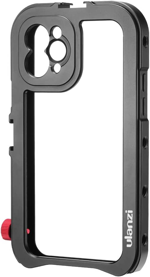 ULANZI Aluminum Video Cage for iPhone 11 Pro, Protective Smartphone Vlog Frame Housing Rig w Lens Adapter / 1/4'' Tripod Screw/ 2 Cold Shoe Mounts for Microphone LED Video Light for iPhone 11 Vlogging