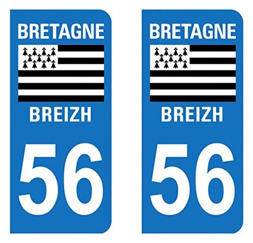 Morbihan Paire Sticker immatriculation 56