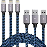 ANTAOLE Phone Charger Fast Charging Cord 3Pack 6FT High Speed Data Sync Transfer USB Cable Compatible with X/8/7/Plus/6S/6/SE/5S/5C/iPad/iPod/Mini/Air/Pro and More(Blue)