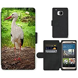 Hot Style Cell Phone Card Slot PU Leather Wallet Case // M00108211 Stork Feather Bird Birth // HTC One M9