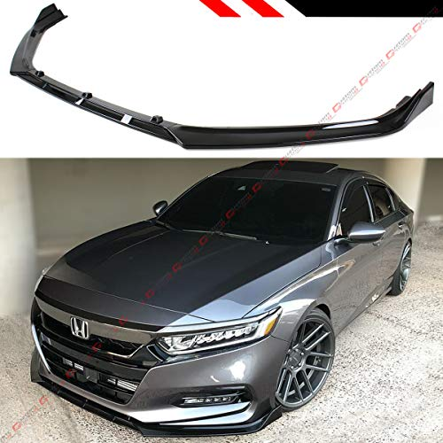 - Fits for 2018-2019 Honda Accord 10TH Gen Sport JDM 3 PiecesDesign Front Bumper Lip Splitter - Gloss Black